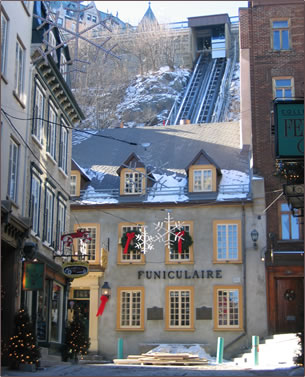 Quebec City funicular, Quebec City vacations, historic holidays Quebec, senior travel Quebec.
