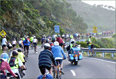 Victoria Australia Great Ocean Road offers the Great Victorian Bike Ride annually.