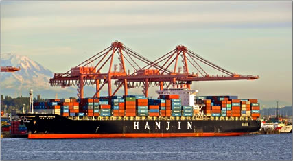 Hanjin Geneva containership in Seattle harbor: container ship travel.