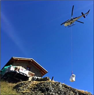 Refugio in western Alps receives food drops by helicopter every two days.