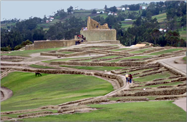 The Inca fortress and temple site of Ingapirca is in the south of the Ecuador Highlands.
