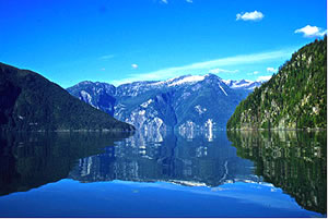 Tranquil Knight Inlet on eco-lodge vacation in British Columbia.