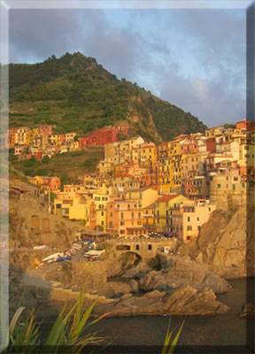 Village of Manarola at sunset: Cinque Terre National Park, Italy.