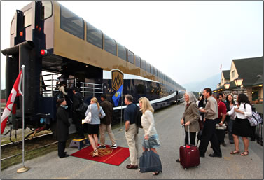 Jasper, Alberta embarcation for Rocky Mountaineer rail journey to Vancouver.