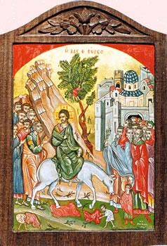 Icon painting of Palm Sunday, the Entrance into Jerusalem by Vasiliki Papantoniou