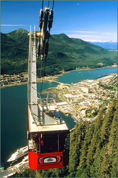 Mt Roberts tramway leads to active vacations around Juneau, Alaska.