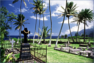 Father Damien sainthood for Kalaupapa Leprosy work on Molokai, Father Damien gravesite.