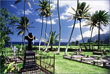 Father Damien sainthood for Kalaupapa Leprosy work on Molokai, Father Damien gravesite.
