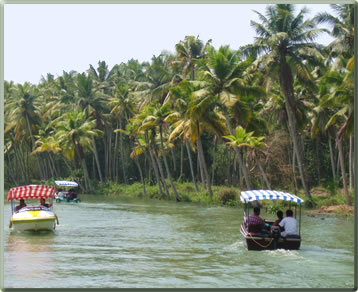Kerala India backwaters cruises and water taxis to resorts.