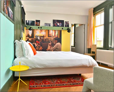 Four star bedroom at Amsterdam's design Lloyd Hotel.
