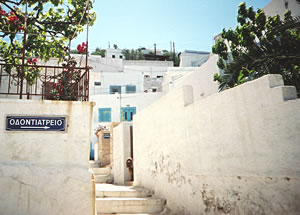Greek Island streets and houses