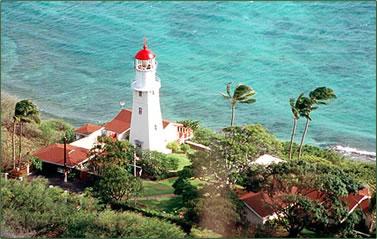 Diamond Head lighthouse is near Honolulu, Oahu, Hawaiian Islands.