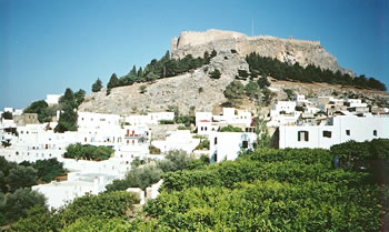 Crusader battlements above Lindos, Rhodes