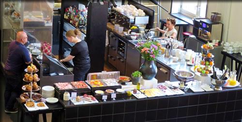 Breakfast buffet at Amsterdam's Lloyd Hotel & Cultural Embassy.