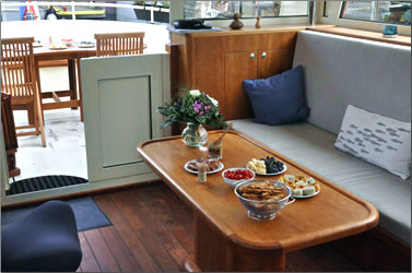 Dining area aboard Arnild Barging's Aslaug on a European barging vacation.