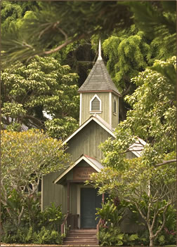 Historic Ka Lokahi oka Malamalama church on the grounds of Four Seasons Resort Lodge at Koele.