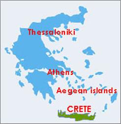 Map of Greece, Greek Islands, Crete.