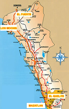 Map of Sinaloa State, Mexico tourism.