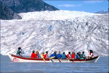 Mendenhall Glacier canoe tours near Juneau, Alaska.