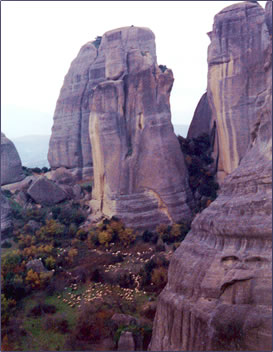 Exploring the geological pinnacles of Meteora, Greece are part of a Greek walking holiday.
