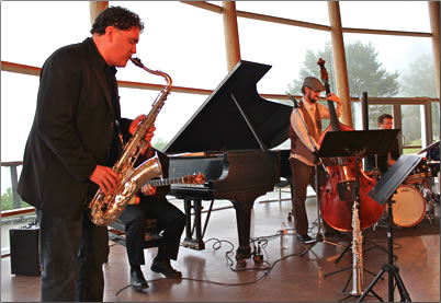 Mike Allen Jazz Quartet performers at Bamfield's music festival by the sea.