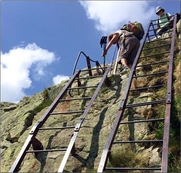 Hikers on the Tour du Mont Blanc sometimes have to climb ladders at sheer rock faces on the route.