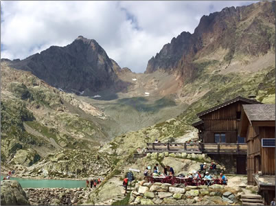 Refugio Lac Blanc high in the Swiss Alps.