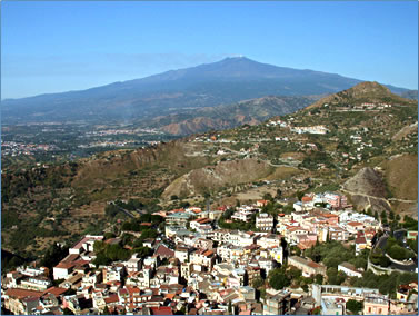 Taormina, Sicily view of Mt Etna from Babilonia Language School.