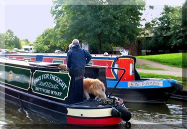 Narrow boat cruising British waterways.