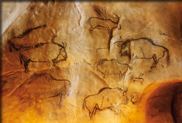 Pre-historic Ice Age cave art in southern France's Niaux Cave.