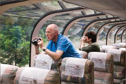 Rocky Mountaineer dome car: Rocky Mountains rail journey.