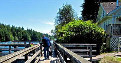 Bamfield boardwalk runs along the village's west side of the Inlet.