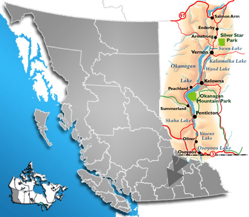 Map of British Columbia and of the Okanagan Valley.