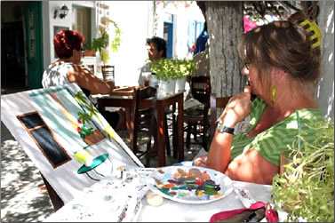 Painting class on Greek Island, Folegandros.