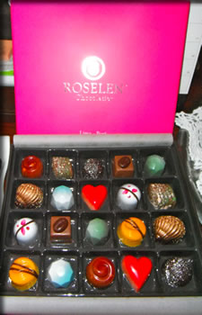 Colorful box of handcrafted chocolates from Peru.