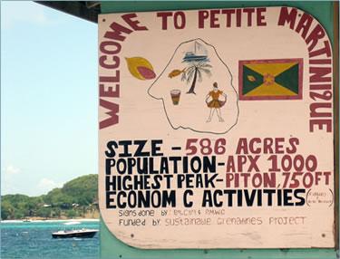 Petite Martinique, Grenada welcome sign.