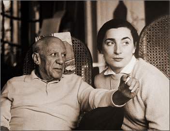 Photo of Picasso and wife Jacqueline.