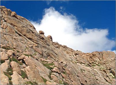 Seniors walking hiking adventure on Pikes Peak, Colorado.