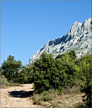 Hiking trail to top of Mont Sainte-Victoire, Provence, France.