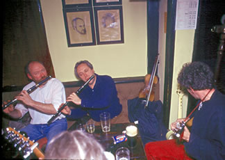An Irish Pub Band playing in a pub outside Shannon, Ireland.