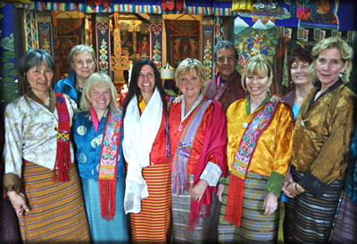 Bhutan travel and tourism: READ Global tour group attending traditional Bhutan marriage ceremony.