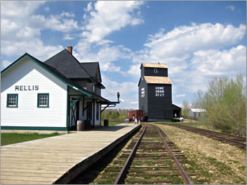 Alberta historic railway and grain elevator at Ukrainian Cultural Heritage Village.