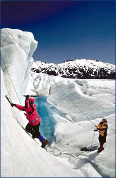 Active adventure glacier rappelling, Juneau Alaska.