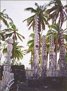 Hawaii totem poles on the Big Island's South Kona coast.