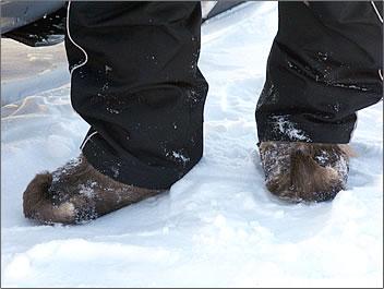 Reindeer skin boots worn by Laplanders in Finland.