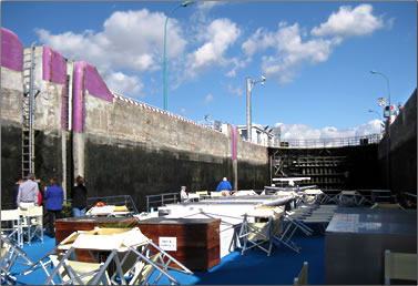 Passing through locks on the Rhone River during a cruise on Uniworld's River Royale ship.