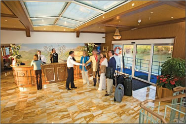 Reception area on the River Royale river cruise with Uniworld.