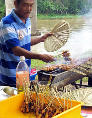 Malaysian satay for sale in farmers market.