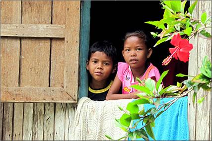 Tribal children in Malaysia rural village.
