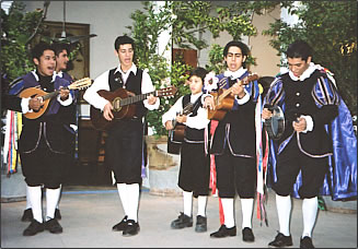 Young men singing in Alamos hotel courtyard reflect a deeply cherished Mexican culture.